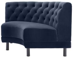 Casa Padrino Luxus Chesterfield Samt Couch Mitternachtsblau / Schwarz 114 x 75 x H. 85 cm - Gebogenes & Erweiterbares Wohnzimmer Sofa - Luxus Kollektion