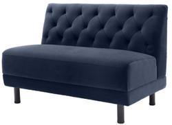 Casa Padrino Luxus Chesterfield Couch Mitternachtsblau / Schwarz 121 x 75 x H. 85 cm - Wohnzimmer Sofa mit edlem Samtstoff - Luxus Kollektion