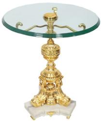 Casa Padrino Barock Beistelltisch Gold / Weiß Ø 53 x H. 67 cm - Runder vergoldeter Bronze Tisch mit Glasplatte und Marmorsockel - Barock Wohnzimmer Möbel