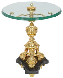 Casa Padrino baroque side table gold / black Ø 53 x H. 67 cm - Round gilded bronze table with glass top and marble base - Baroque living room furniture