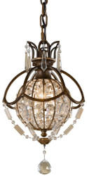 Casa Padrino baroque pendant lamp with crystal glass bronze Ø 22.2 x H. 40.5 cm - Magnificent hanging lamp in baroque style - Noble & Magnificent