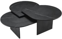 Casa Padrino Luxus Couchtisch Set Schwarz - 3 Wohnzimmertische aus hochwertigem Marmor - Luxus Wohnzimmer Möbel