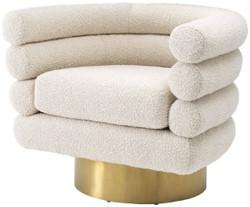 Casa Padrino Luxus Drehsessel Creme / Messingfarben 87 x 69 x H. 70 cm - Wohnzimmer Sessel - Luxus Möbel