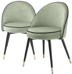 Casa Padrino luxury dining chair set pistachio green / black / brass 55 x 64 x H. 83 cm - Dining chairs with fine velvet - Dining room furniture