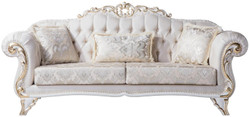 Casa Padrino luxury baroque living room sofa with decorative pillows cream / white / gold 220 x 90 x H. 101 cm - Baroque Furniture - Noble & Magnificent