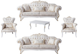 Casa Padrino luxury baroque living room set cream / white / gold - 2 Sofas & 2 Armchairs & 1 Coffee Table - Living room furniture in baroque style - Noble & Magnificent