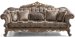 Casa Padrino luxury baroque sofa brown / gray / gold 240 x 96 x H. 94 cm - Magnificent living room sofa with decorative pillows - Furniture in baroque style