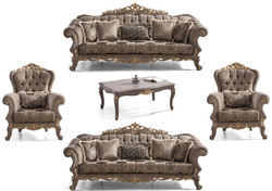 Casa Padrino luxury baroque living room set brown / gray / gold - 2 Sofas & 2 Armchairs & 1 Coffee Table - Magnificent baroque living room furniture
