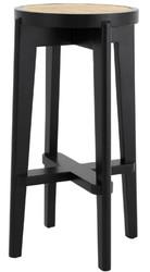 Casa Padrino luxury bar stool black / natural Ø 44 x H. 76.5 cm - Round solid wood bar stool - Bar Furniture
