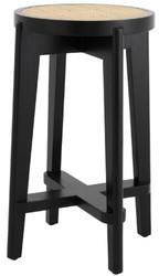 Casa Padrino luxury bar stool black / natural Ø 44 x H. 67 cm - Round solid wood bar stool - Bar Furniture