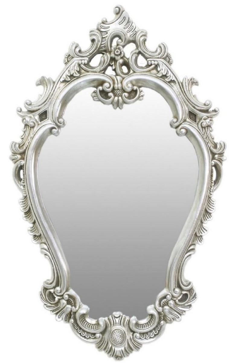 Casa Padrino Barock Spiegel Silber 7 x H. 7 cm - Prunkvoller Wandspiegel  im Barockstil - Garderoben Spiegel - Wohnzimmer Spiegel - Barock Möbel