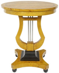 Casa Padrino Art Deco side table birdseye maple light brown / black / silver Ø 55 x H. 70 cm - Art Deco living room furniture