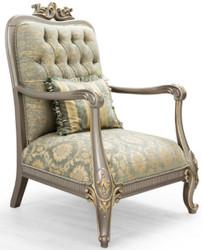 Casa Padrino Luxus Barock Sessel Grün / Gold / Grau / Gold 76 x 87 x H. 117 cm - Prunkvoller Barockstil Wohnzimmer Sessel mit elegantem Muster - Barock Möbel