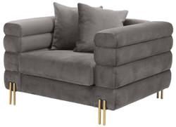 Casa Padrino Luxus Sessel Grau / Messingfarben 109 x 97 x H. 68 cm - Wohnzimmer Sessel mit edlem Samtstoff - Luxus Möbel