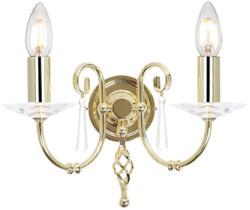 Casa Padrino Barock Doppel Wandleuchte Messing 32 x 17,5 x H. 22 cm - Elegante Wohnzimmer Wandlampe - Wandleuchten im Barockstil