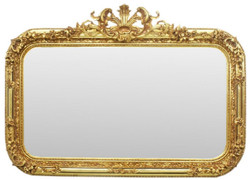 Casa Padrino baroque mirror gold 140 x H. 95 cm - Handmade antique style wall mirror - Wardrobe mirror - Living room mirror - Baroque Furniture