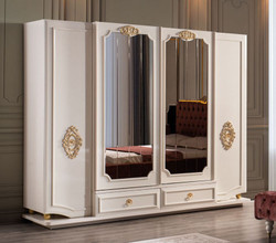Casa Padrino luxury baroque bedroom cabinet white / gold 267 x 73 x H. 223 cm - Noble solid wood wardrobe - Bedroom furniture in baroque style - Luxury Quality