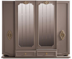 Casa Padrino luxury baroque bedroom cabinet gray / gold 267 x 73 x H. 223 cm - Noble solid wood wardrobe - Bedroom furniture in baroque style - Luxury Quality