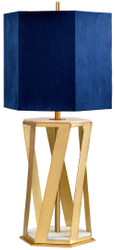 Casa Padrino luxury table lamp brass / white / blue 27.5 x 27.5 x H. 87 cm - Modern table lamp with faux silk lampshade - Luxury Collection
