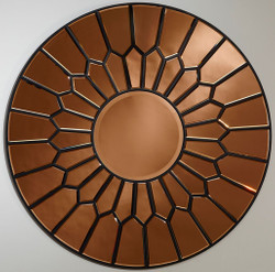 Casa Padrino luxury mirror copper / black Ø 100 cm - Elegant round wall mirror - Luxury Furniture