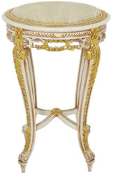 Casa Padrino baroque side table with marble top white / beige / gold / cream Ø 40 x H. 60 cm - Round antique style table - Baroque living room furniture