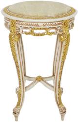 Casa Padrino Barock Beistelltisch mit Marmorplatte Weiß / Beige / Gold / Creme Ø 40 x H. 60 cm - Runder Antik Stil Tisch - Barock Wohnzimmer Möbel