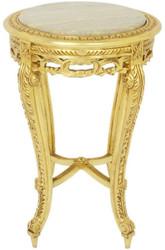 Casa Padrino Barock Beistelltisch mit Marmorplatte Gold / Creme Ø 40 x H. 60 cm - Runder Antik Stil Tisch - Barock Wohnzimmer Möbel