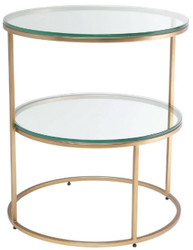 Casa Padrino luxury side table brass Ø 50 x H. 57 cm - Round stainless steel table with tempered glass tops - Luxury Quality