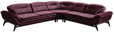 Casa Padrino luxury corner sofa purple / dark brown 318 x 293 x H. 85 cm - Living room sofa with adjustable backrests - Living room furniture