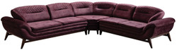 Casa Padrino luxury corner sofa purple / dark brown 318 x 293 x H. 85 cm - Living room sofa with adjustable backrests - Living room furniture