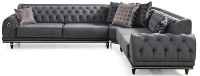 Casa Padrino luxury Art Deco Chesterfield corner sofa gray / black / gold 320 x 285 x H. 82 cm - Noble living room sofa with decorative pillows - Luxury Quality