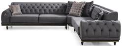 Casa Padrino Luxus Art Deco Chesterfield Ecksofa Grau / Schwarz / Gold 320 x 285 x H. 82 cm - Edles Wohnzimmer Sofa mit dekorativen Kissen - Luxus Qualität