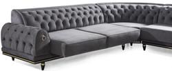 Casa Padrino luxury Art Deco Chesterfield corner sofa gray / black / gold 320 x 285 x H. 82 cm - Noble living room sofa with decorative pillows - Luxury Quality 2