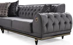 Casa Padrino luxury Art Deco Chesterfield corner sofa gray / black / gold 320 x 285 x H. 82 cm - Noble living room sofa with decorative pillows - Luxury Quality 3