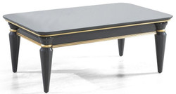 Casa Padrino luxury Art Deco coffee table gray / gold 110 x 70 x H. 42 cm - Noble solid wood living room table with glass top - Living room furniture