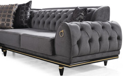 Casa Padrino luxury Art Deco Chesterfield living room set gray / black / gold - 1 Corner Sofa with Pillows & 1 Coffee Table with Glass Top - Noble living room furniture - Luxury Quality 4