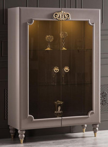 Casa Padrino luxury baroque display cabinet gray / gold 116 x 45 x H. 170 cm - Illuminated solid wood showcase with 2 glass doors - Noble baroque furniture