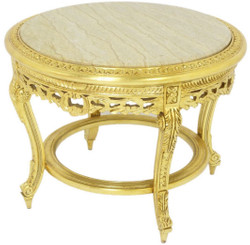 Casa Padrino baroque coffee table with marble top gold / cream Ø 70 x H. 45 cm - Round antique style living room table - Baroque living room furniture 2