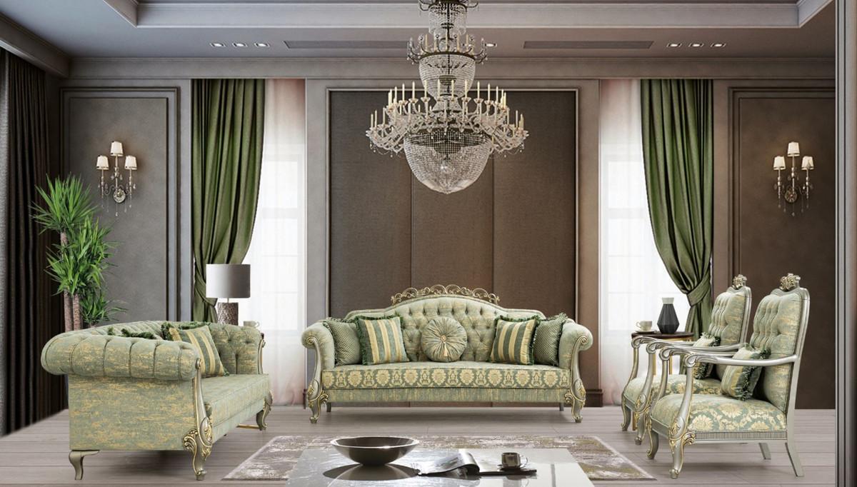 Casa Padrino Luxus Barock Wohnzimmer Set Grun Gold Grau Gold 2 Sofas 2 Sessel Wohnzimmer Mobel Im Barockstil Edel Prunkvoll