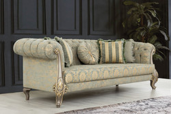 Casa Padrino luxury baroque living room set green / gold / gray / gold - 2 Sofas & 2 Armchairs - Living room furniture in baroque style - Noble & Magnificent 5