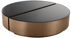Casa Padrino luxury coffee table set copper / black - 2 Semicircular stainless steel living room tables with beveled glass tops - Luxury living room furniture