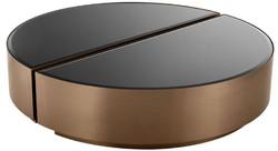 Casa Padrino Luxus Couchtisch Set Kupferfarben / Schwarz - 2 halbkreisförmige Edelstahl Wohnzimmertische mit abgeschrägten Glasplatten - Luxus Wohnzimmer Möbel