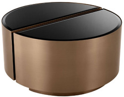 Casa Padrino luxury side table set copper / black - 2 Semicircular stainless steel tables with beveled glass tops - Luxury living room furniture
