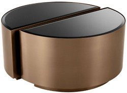 Casa Padrino luxury side table set copper / black - 2 Semicircular stainless steel tables with beveled glass tops - Luxury living room furniture 2