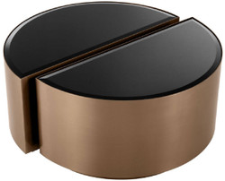 Casa Padrino luxury side table set copper / black - 2 Semicircular stainless steel tables with beveled glass tops - Luxury living room furniture 3