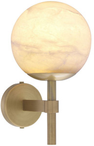 Casa Padrino luxury wall lamp antique brass / alabaster 18 x 26 x H. 35 cm - Elegant metal wall lamp with round alabaster lampshade - Luxury Collection