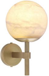 Casa Padrino Luxus Wandleuchte Antik Messingfarben / Alabaster 18 x 26 x H. 35 cm - Elegante Metall Wandlampe mit rundem Alabaster Lampenschirm - Luxus Kollektion