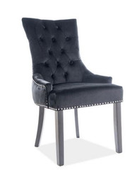 Casa Padrino luxury Chesterfield dining chair black / silver / black - kitchen chair with velvet - dining room furniture