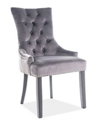 Casa Padrino luxury Chesterfield dining chair gray / silver / black - kitchen chair with velvet - dining room furniture