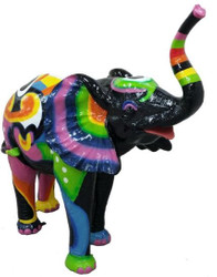 Casa Padrino designer decoration figure elephant black / multicolor 160 x H. 160 cm - Huge decoration sculpture - Weatherproof garden decoration